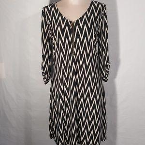Tacera Dress Black and Cream Striped Size M